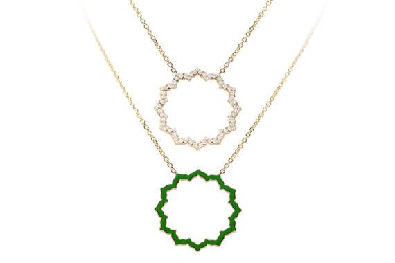 Caspita Silhouette Anahata necklace yellow gold diamonds