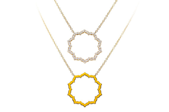 Caspita Silhouette Manipura necklace yellow gold diamonds