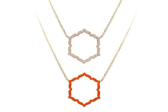 Caspita Silhouette Swadhistana necklace yellow gold diamonds