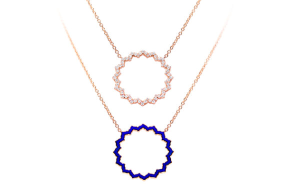 Caspita Silhouette Vishuddha necklace rose gold diamonds