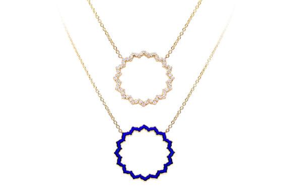 Caspita Silhouette Vishuddha necklace yellow gold diamonds
