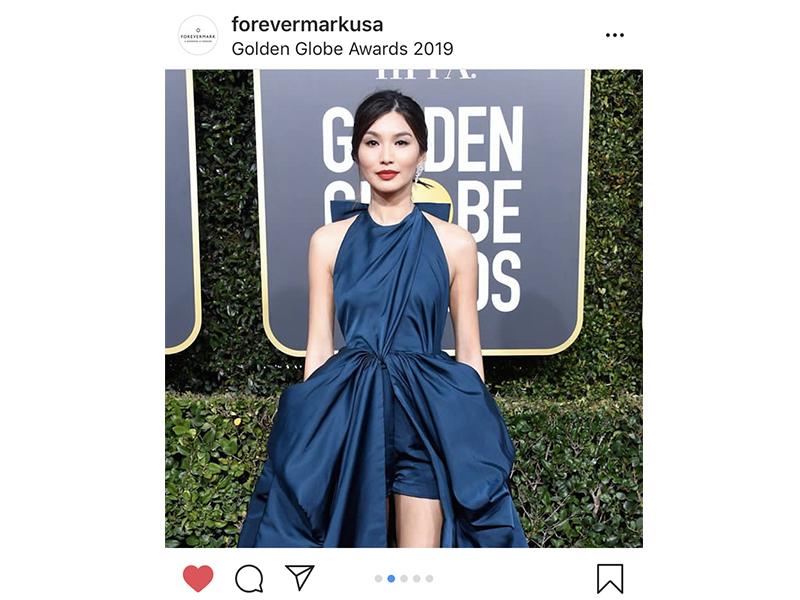Forevermark - Gemma Chan wore diamond rings and statement diamonds earrings. Golden Globes 2019