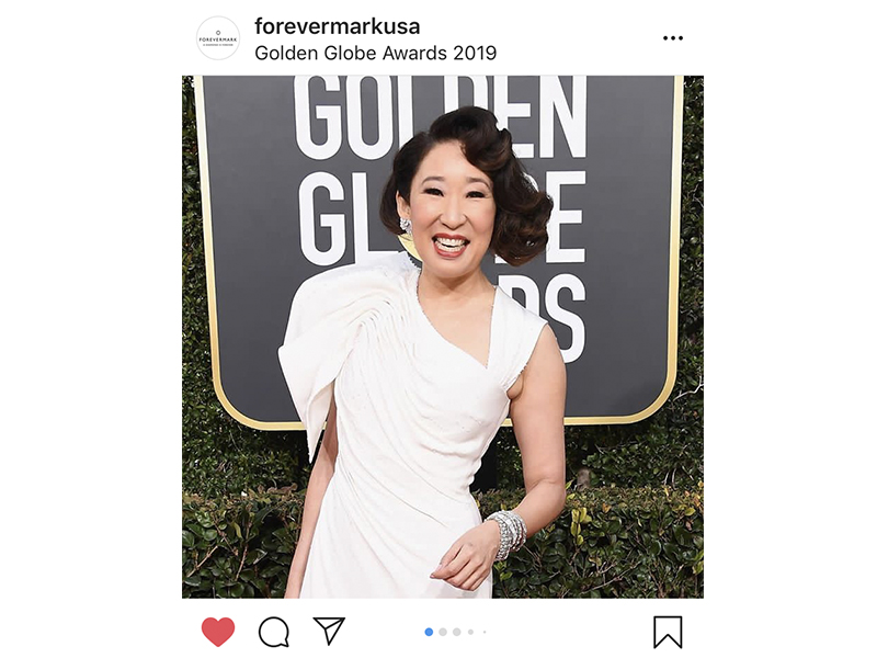 Forevermark - Sandra Oh wore Forevermark diamond bracelet and diamond wing earrings. Golden Globes 2019