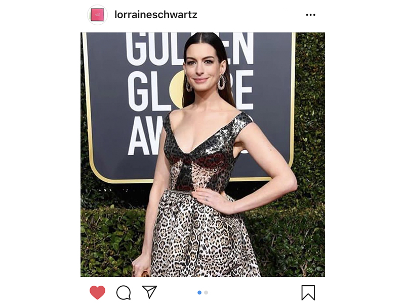 Lorraine Schwartz - Anne Hathaway wore signature diamond mesh earrings and a nude diamond ring. Golden Globes 2019