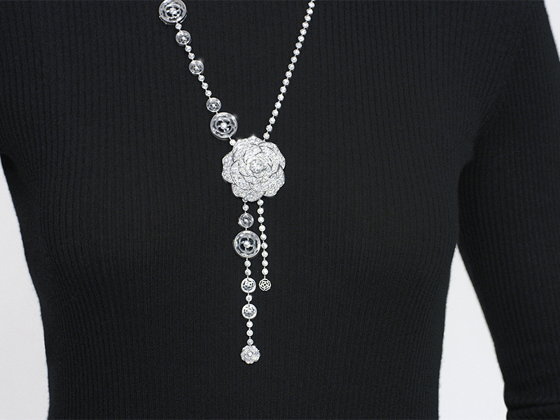 Chanel - Collier Cristal Illusion transformable en or blanc