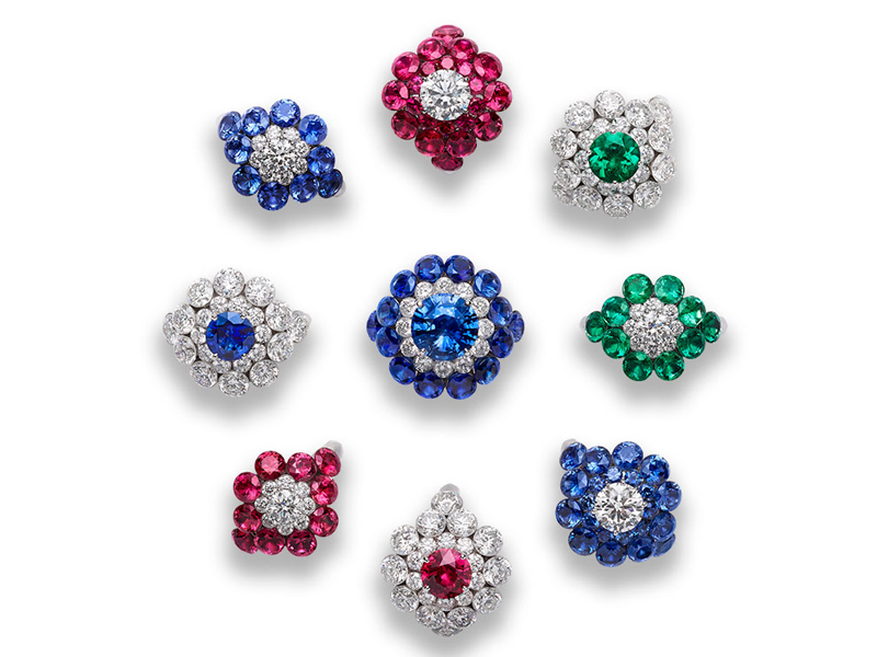 Chopard - Pavé Flowers rings sert with diamonds, rubies, sapphires and emeralds