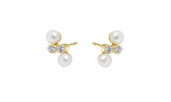 Enora Antoine Eternal Kô diamond studs 18ct yellow gold diamonds pearls