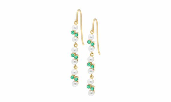 Enora Antoine Eternal Kô emerald earrings 18ct yellow gold diamonds emeralds