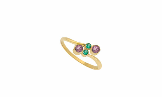 Enora Antoine Eternal Kô tourmaline ring 18ct yellow gold emeralds