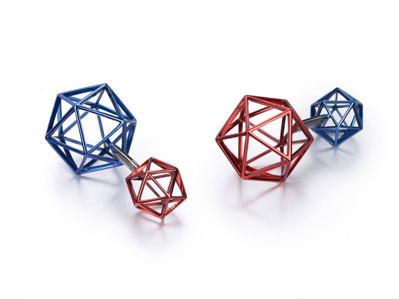 """Suzanne Syz - """"Galactic Surprises"""" cufflinks in titanium"""