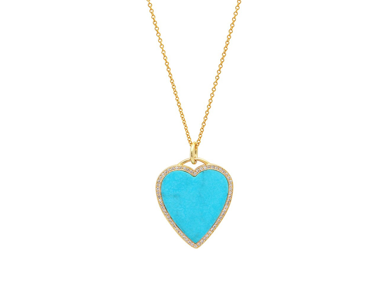 Jennifer Meyer - Collier en coeur avec turquoise en or jaune serti de diamants