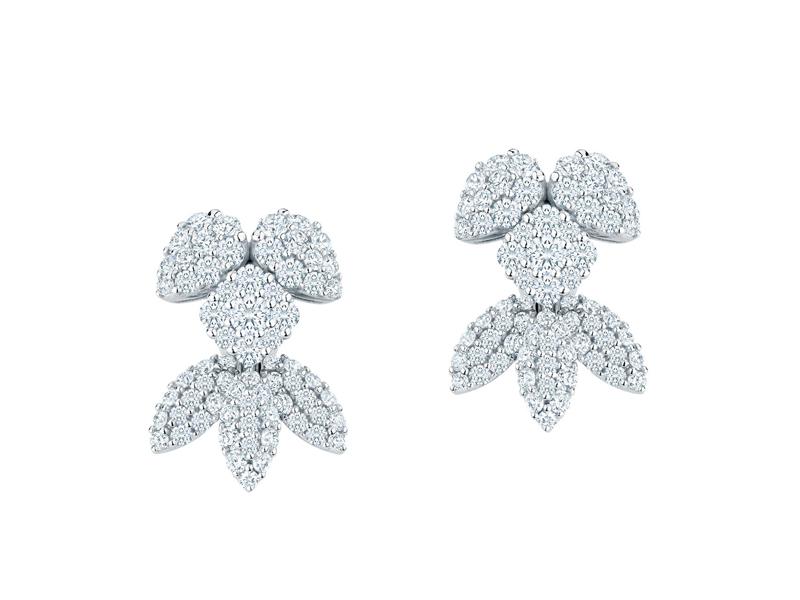 Maison Birks - Snowstorm petites boucles d'oreilles en or blanc serties de diamants