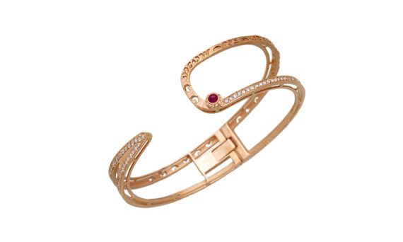 Marco dal Maso Amaia bangle 18k rose gold champagne diamonds sapphire