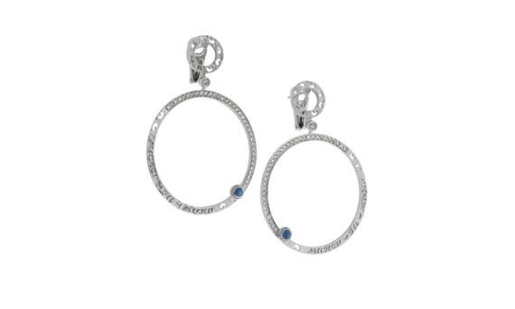 Marco dal Maso Amaia earrings 18k white gold champagne diamonds blue sapphires