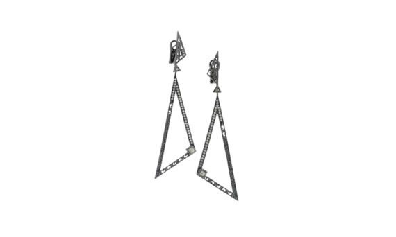 Marco dal Maso Amaia earrings 18k black gold champagne diamonds green sapphires