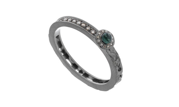 Orion circle halo ring with green tourmaline
