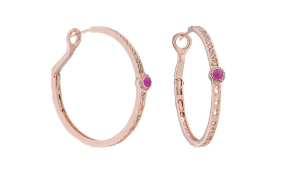 Orion pink sapphire circle halo medium earring