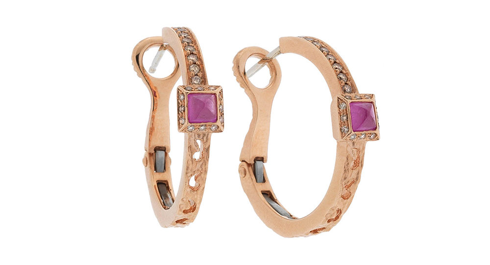 Orion pink sapphire square halo earring