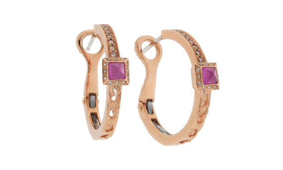 Marco dal Maso Amaia small hoops earrings 18k rose gold champagne diamonds pink sapphires squared cabochon