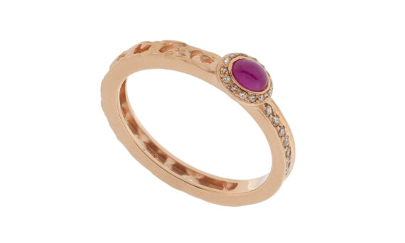 Marco dal Maso Amaia rose sapphire cabochon ring 18k rose gold champagne diamonds