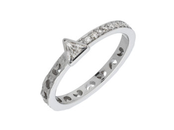 Orion Ring with Diamond Pave & Triangle Halo