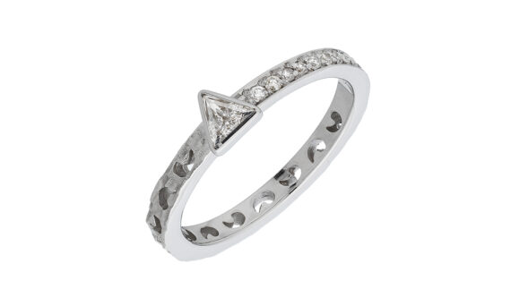 Marco dal Maso Amaia trilliant diamond ring 18k white gold white diamonds