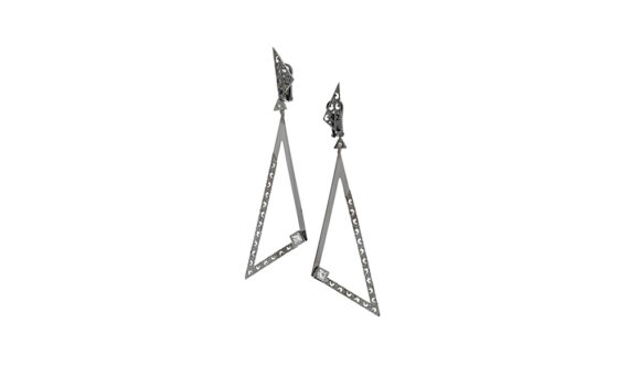 Solar Acute Earrings in Textured & Polished 18kt Gold