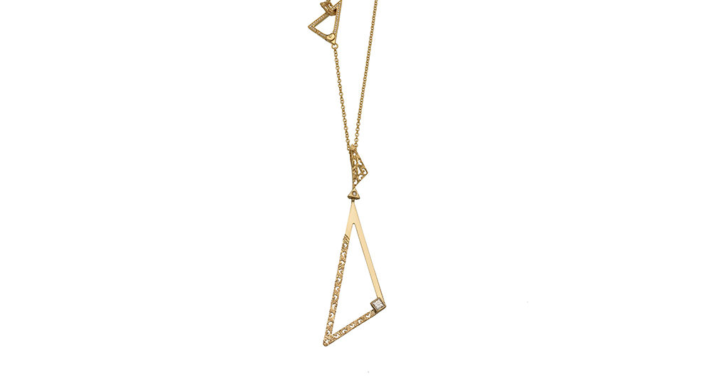 Solar Acute Pendant in Textured & Polished 18kt Gold