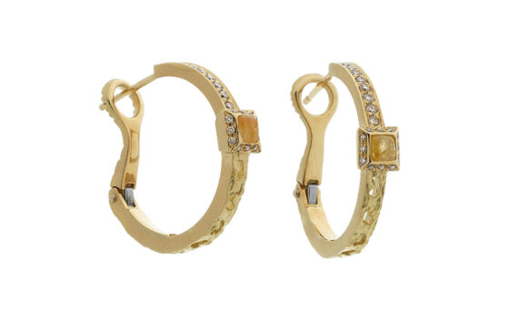 Marco dal Maso Amaia small hoops earrings 18k yellow gold champagne diamonds yellow sapphires squared cabochon