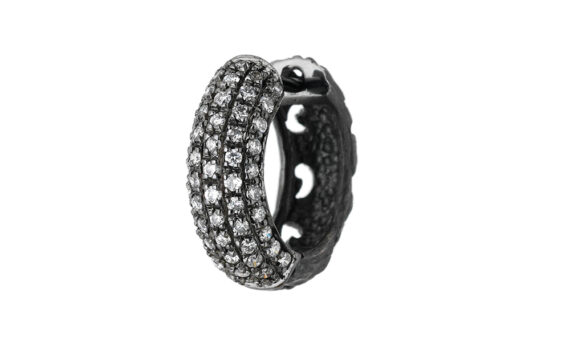 Marco dal Maso Warrior round earring 18k black gold white diamonds
