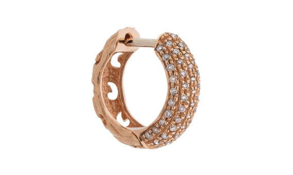 Marco dal maso warrior round earring 18k rose gold champagne diamonds