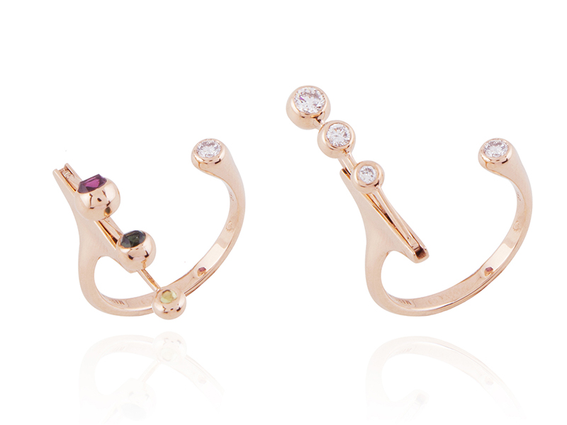 """Marie Mas - Bague Ouverte Dancing Diamond issue de la Collection """"Swinging diamonds"""" en or rose 18 carats avec diamants et tourmalines"""