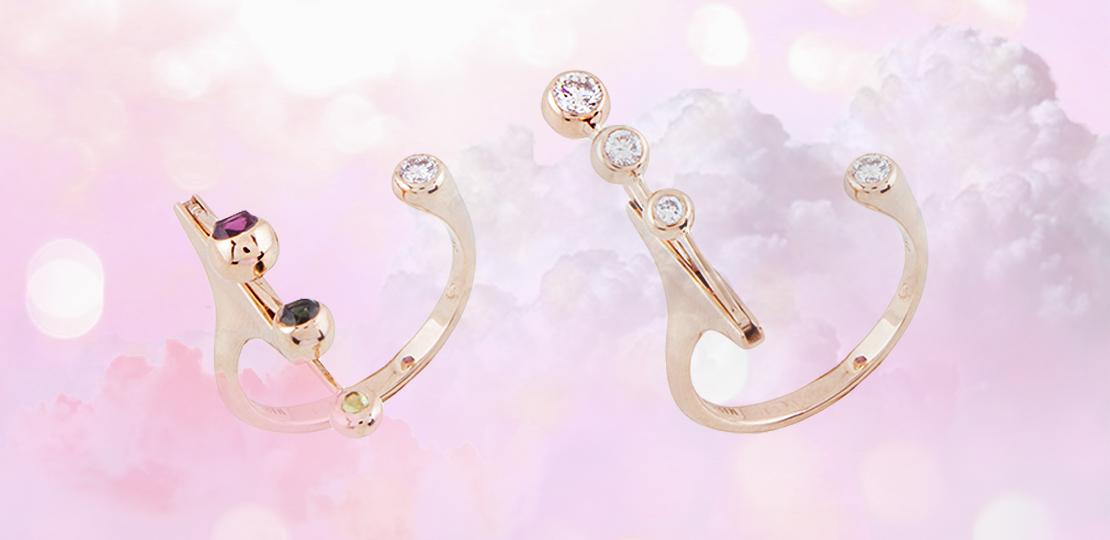 Marie Mas rings swinging diamonds