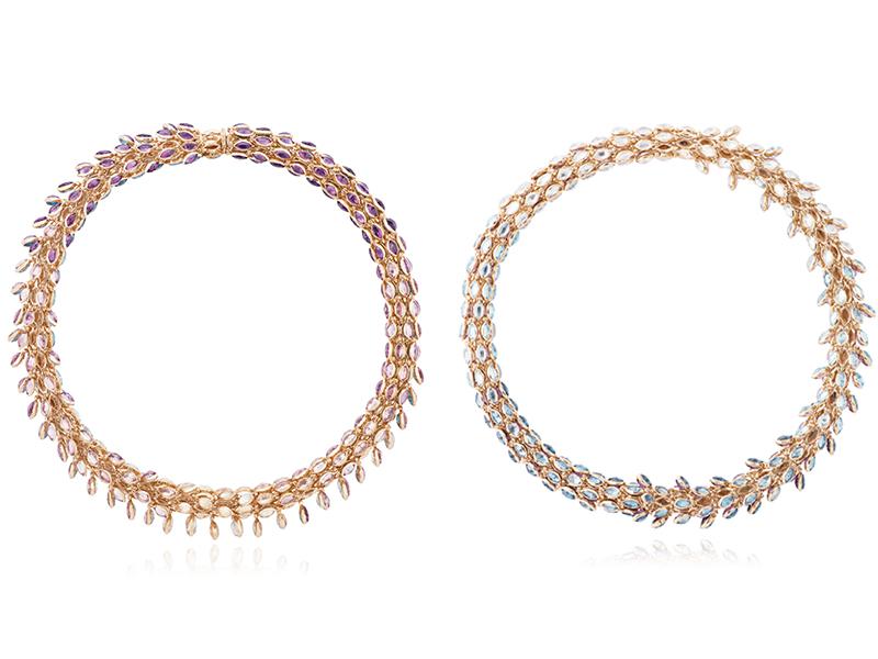 """Marie Mas - Choker issu de la collection """"Swinging Choker"""" en or rose 18 carats serti de quartz, d'améthystes et de topazes"""