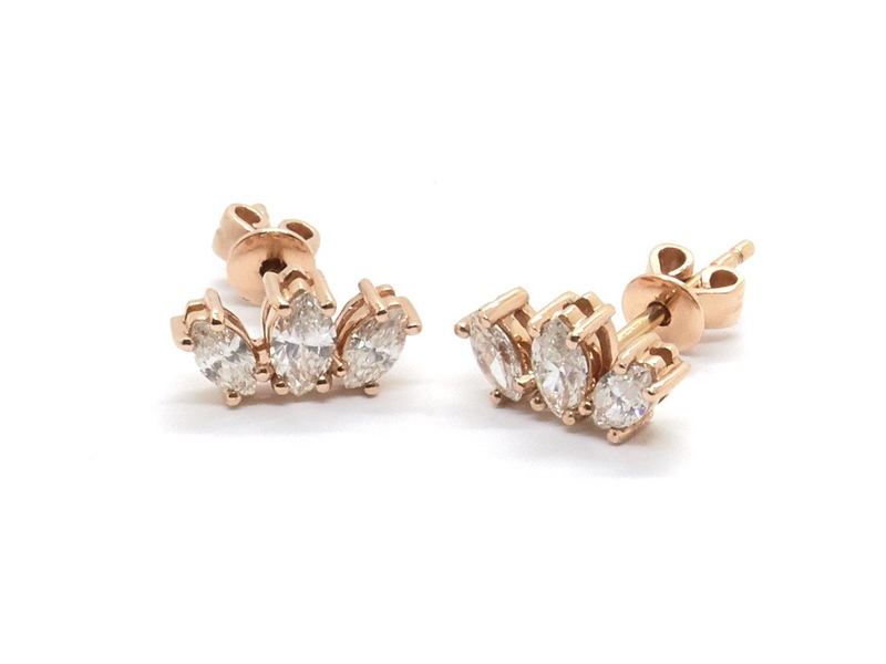 Nathalie Marie - Earrings mounted on 14K rose gold set with marquise-cut diamonds