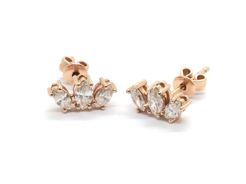 Nathalie Marie - Boucles d'oreilles en or rose 14 carats serti de trois diamants taille marquise