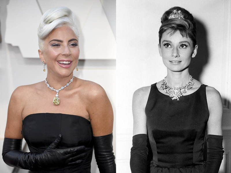 Lady Gaga et Audrey Hepburn Tiffany Yellow Diamond
