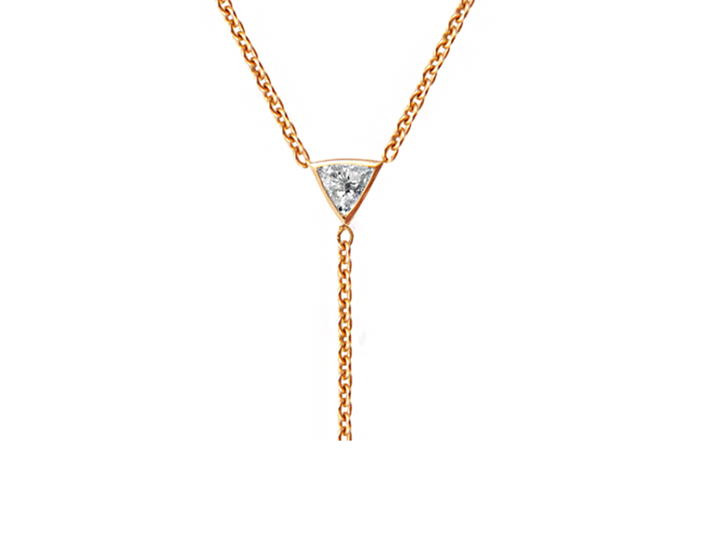 Rivka Nahmias - Collier Y en or jaune serti d'un diamant triangle