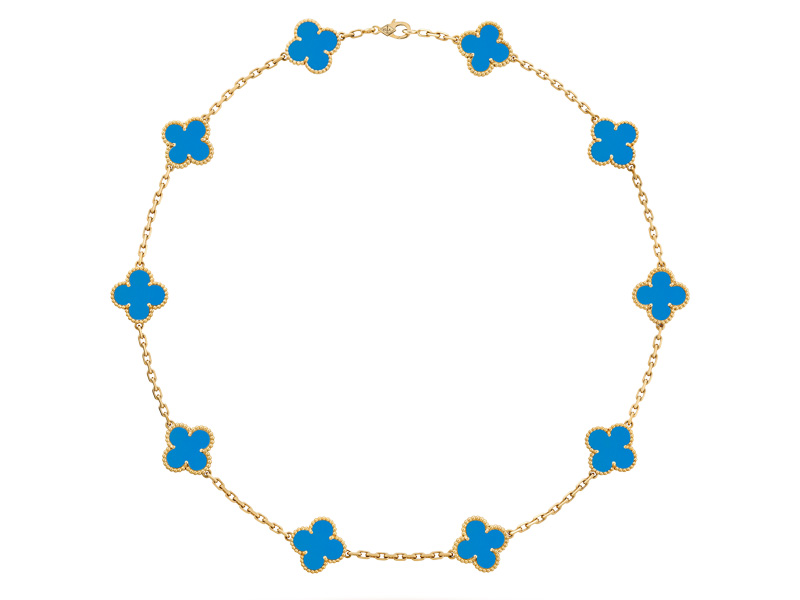 Van Cleef & Arples - Collier Vintage Alhambra 10 motifs en or jaune et agathe