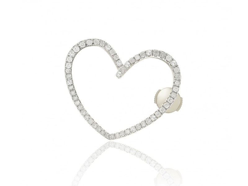 Yvonne Léon - Puce coeur en or blanc sertie de diamants