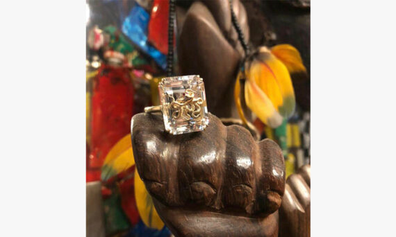 Alexia Demblum Pulpo rock crystal ring 9cts yellow gold two little rubies
