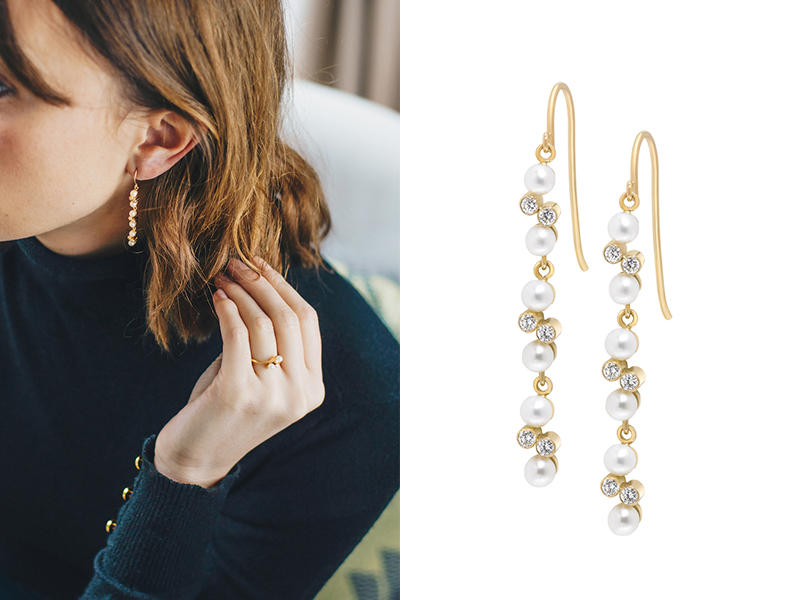 Enora Antoine - Paire de dormeuses Eternal Kô en or jaune serties de diamants et de perles