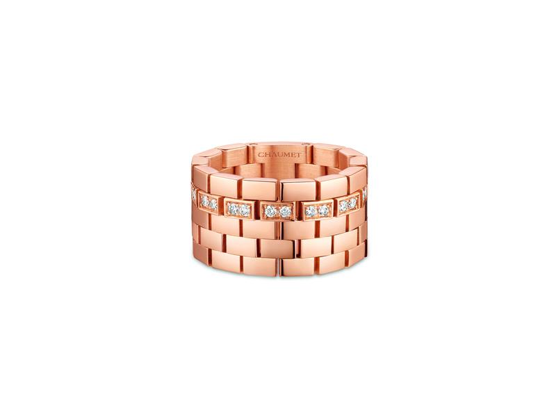 Chaumet - Bague Boléro en or rose 18 carats sertie de diamants taille brillant