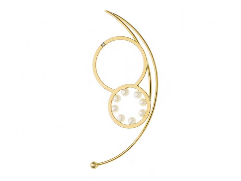 """Delfina Delettrez - Clip d'oreille """"Double Bubble"""" en or jaune serti de perles et diamant"""