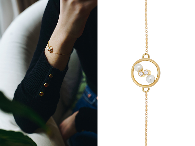 Enora Antoine - Bracelet Eternal Kô en or jaune serti de diamants et de perles