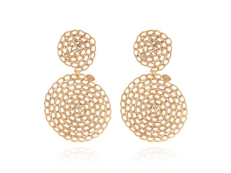 gas Bijoux - Boucles d'oreilles Onde Gourmette grand modèle en métal doré à l'or fin 24 carats