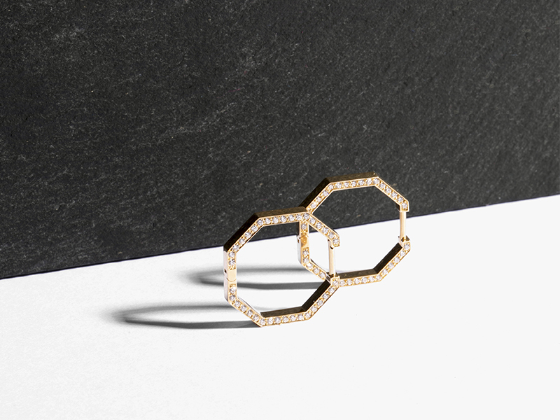 JEM - Octogone ring mounted on Fairmined yellow gold set with lab-grown diamonds