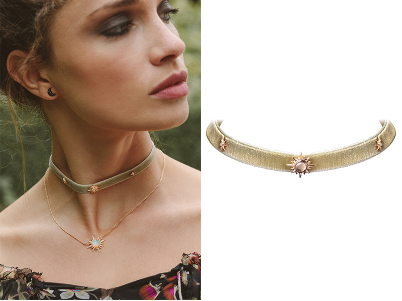 Jenny Dee - Electra trio Choker mounted on yellow gold set with prasiolite and white diamonds