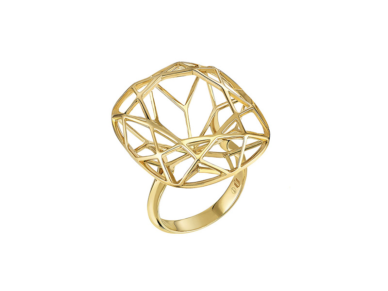 Nuun Jewels - Cushion ring mounted on yellow gold