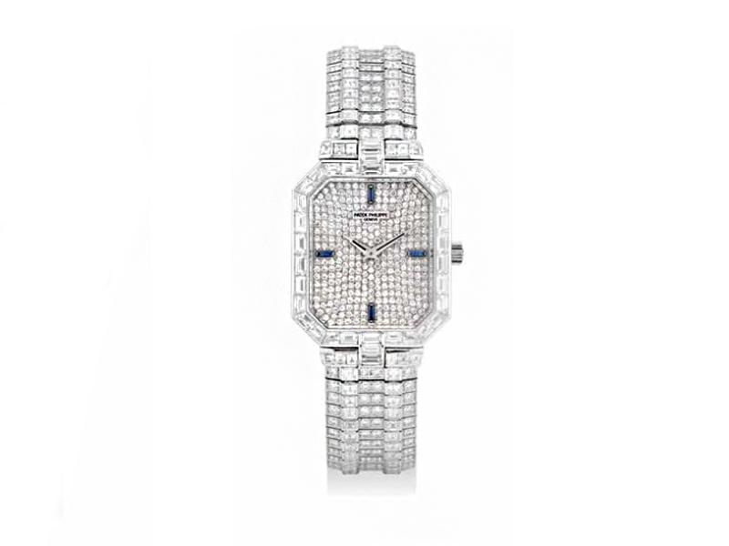 Patek - Montre Vintage avec lapis lazuli et diamants
